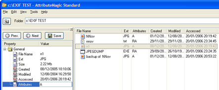 screenshot: change file/folder attributes with inspector